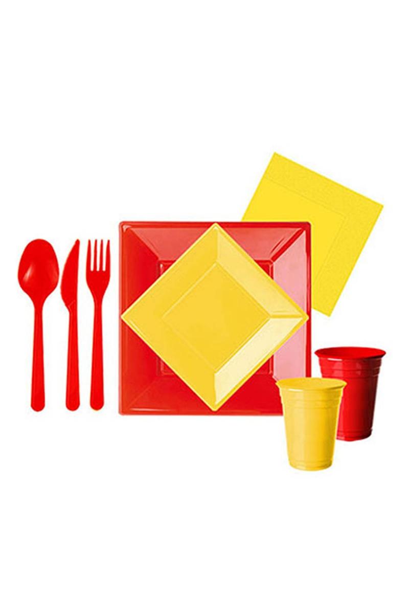 Roll-Up Sarı Kırmızı Kare Parti Seti 8 Kişilik Seti 127 Parça