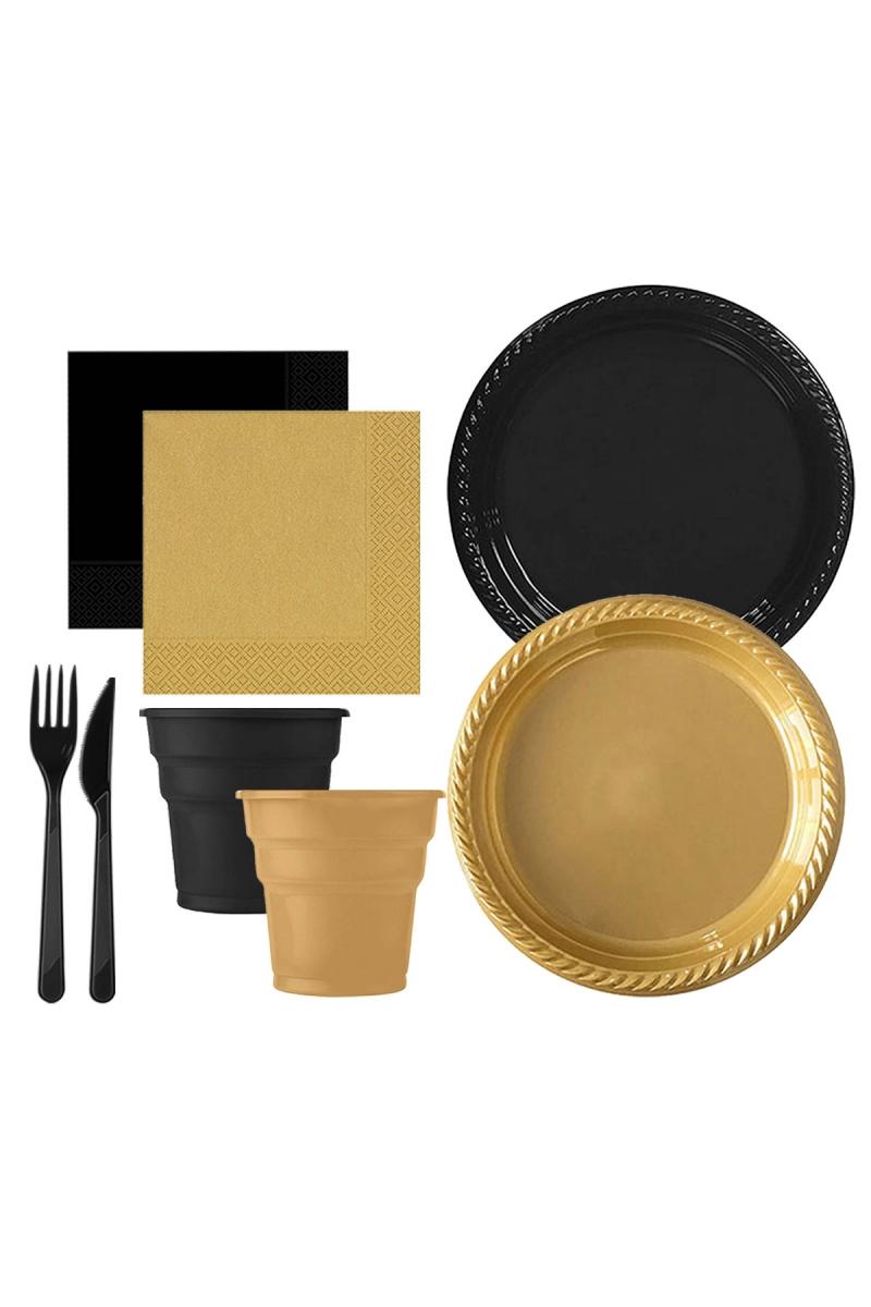 Roll-Up Siyah-Altın Plastik Sofra Seti 20 Kişilik 130 Parça