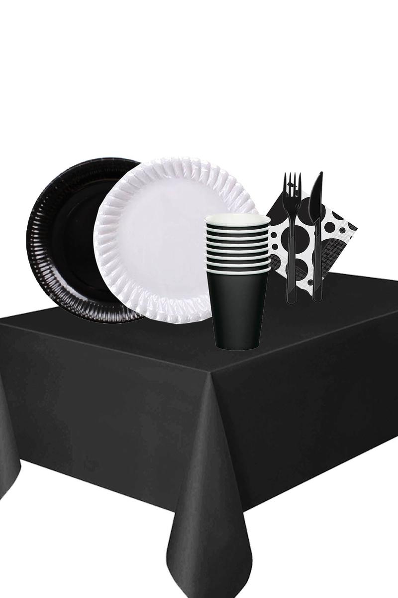 Roll-Up Siyah-Beyaz Renkli Karton Sofra Seti 24 Kişilik 144 Parça