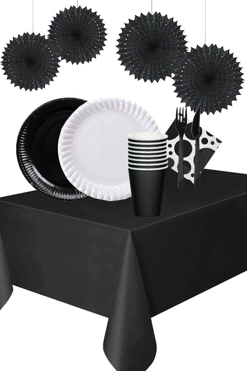 Roll-Up Siyah-Beyaz Siyah Yelpaze Süsler Karton Sofra Seti 24 Kişilik 148 Parça