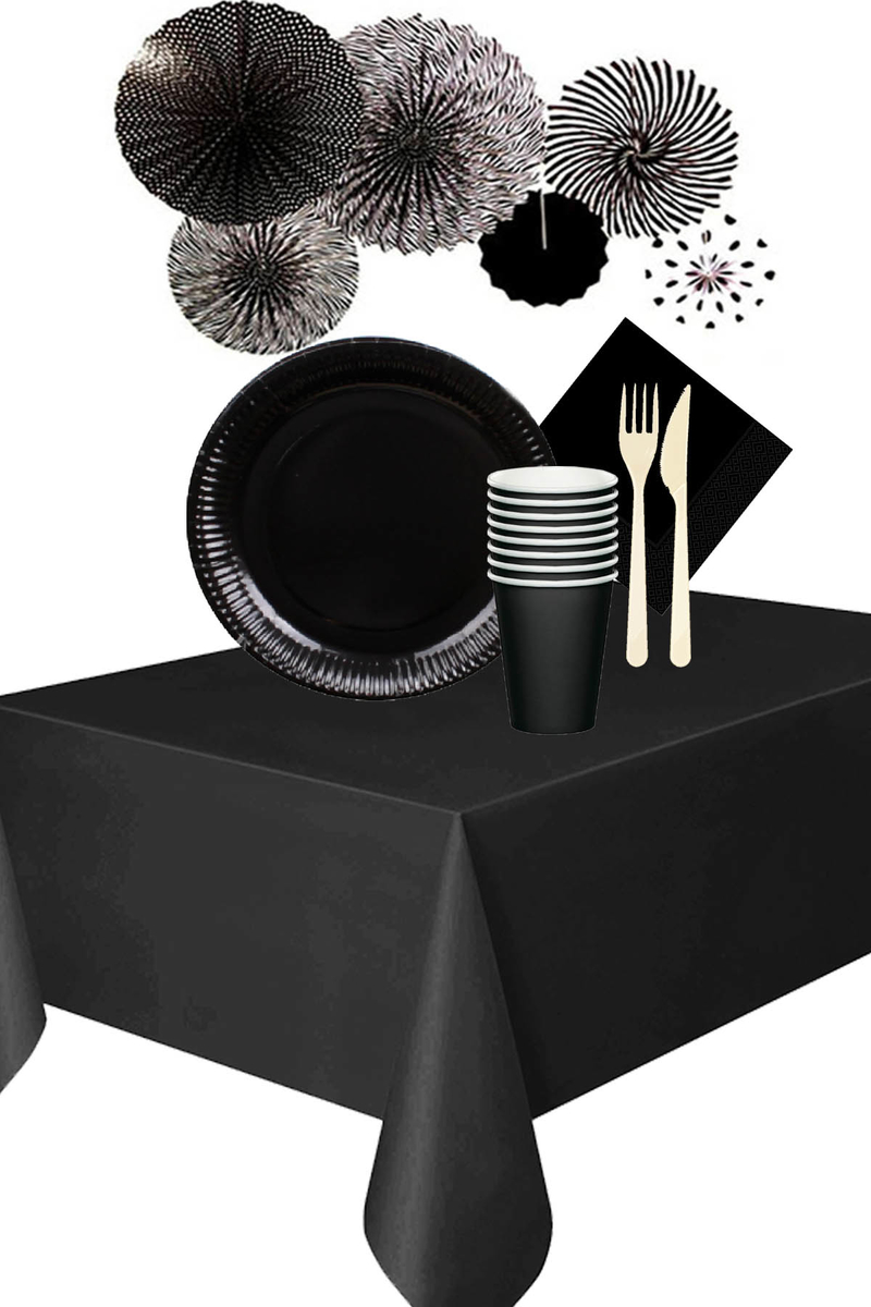 Roll-Up Siyah Desenli Yelpaze Süsler Karton Sofra Seti 8 Kişilik 93 Parça