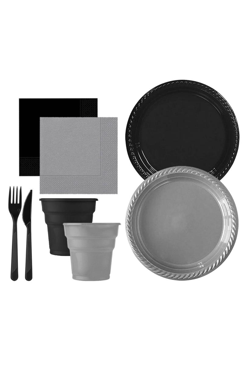 Roll-Up Siyah-Gümüş Plastik Sofra Seti 20 Kişilik 130 Parça