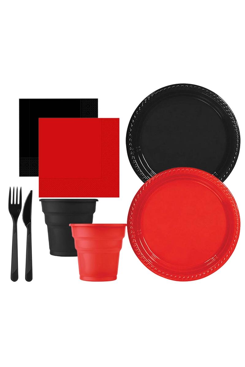 Roll-Up Siyah-Kırmızı Plastik Sofra Seti 20 Kişilik 130 Parça