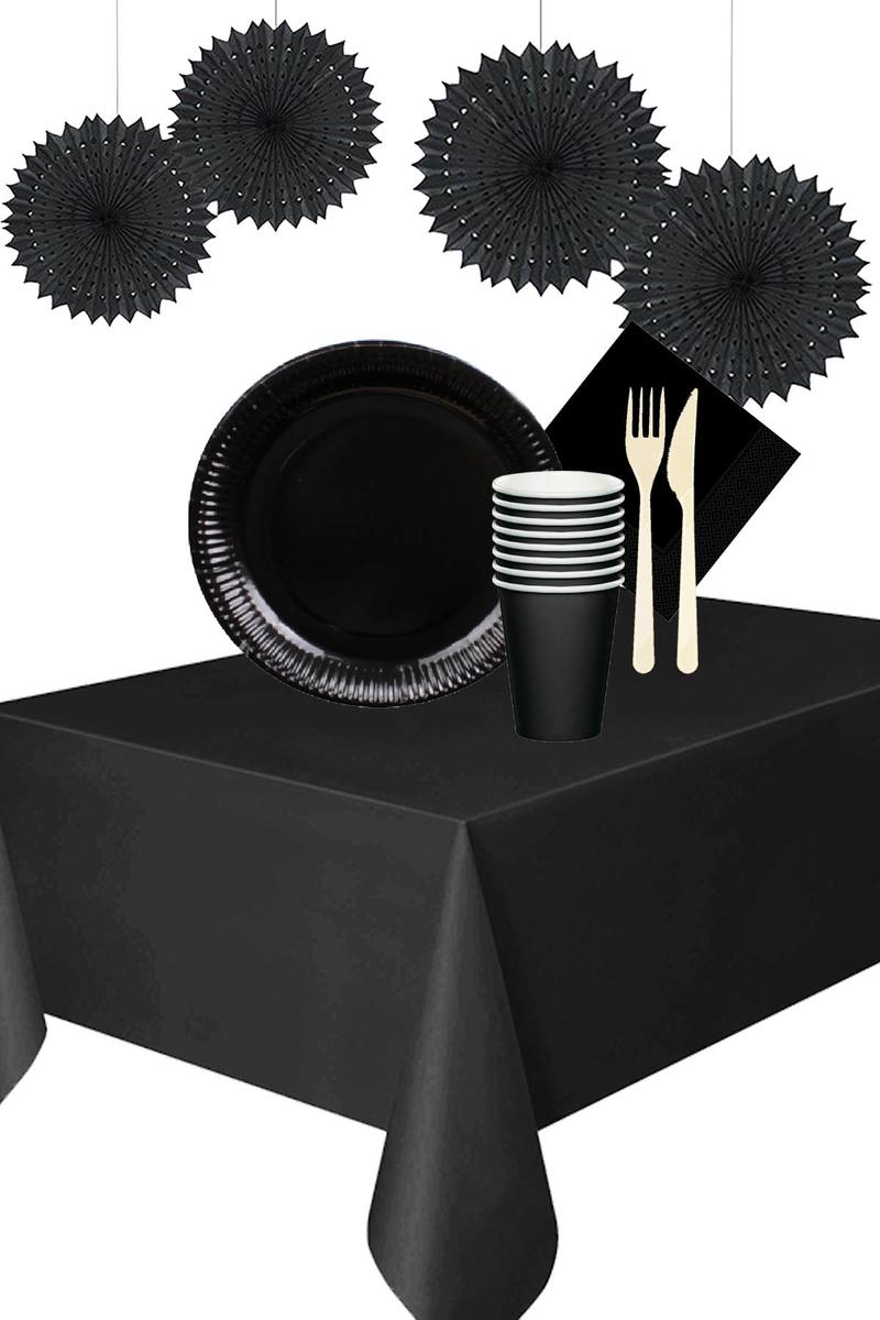 Roll-Up Siyah Yelpaze Süsler Karton Sofra Seti 8 Kişilik 91 Parça