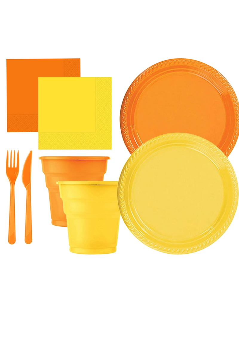 Roll-Up Turuncu-Sarı Plastik Sofra Seti 20 Kişilik 130 Parça