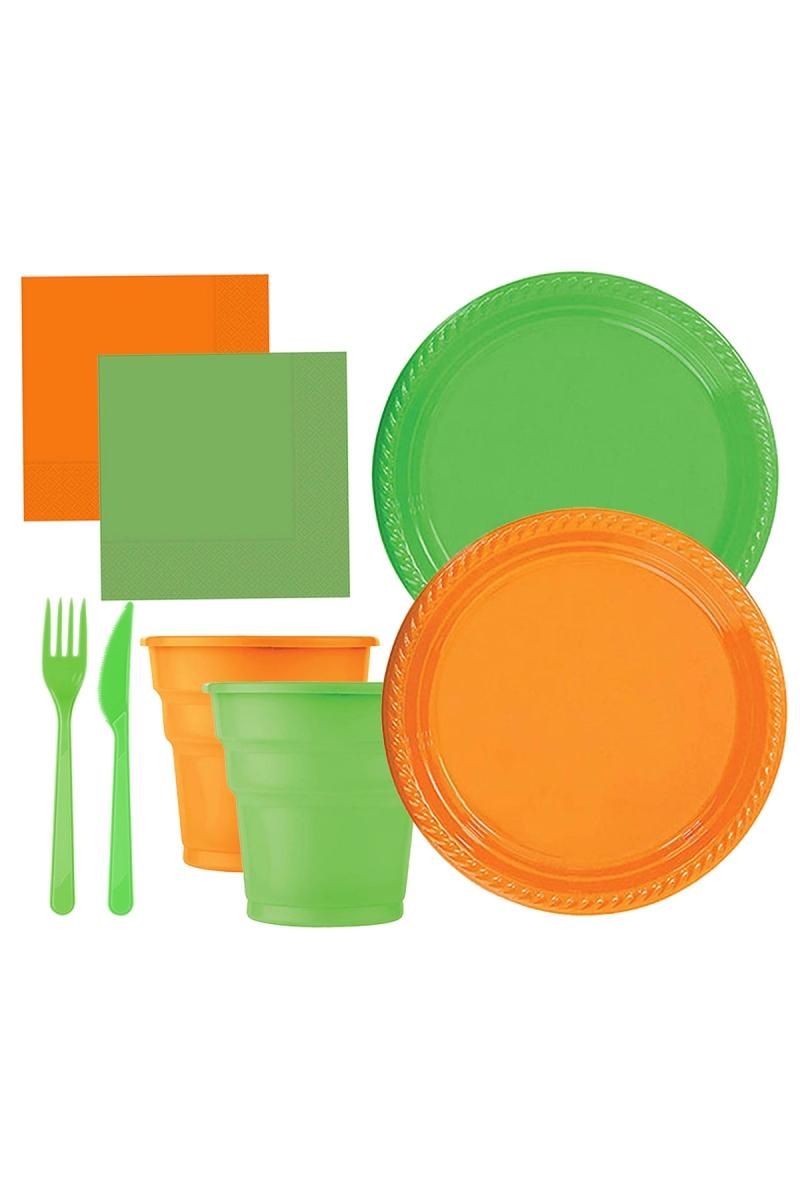 Roll-Up Yeşil-Turuncu Plastik Sofra Seti 20 Kişilik 130 Parça