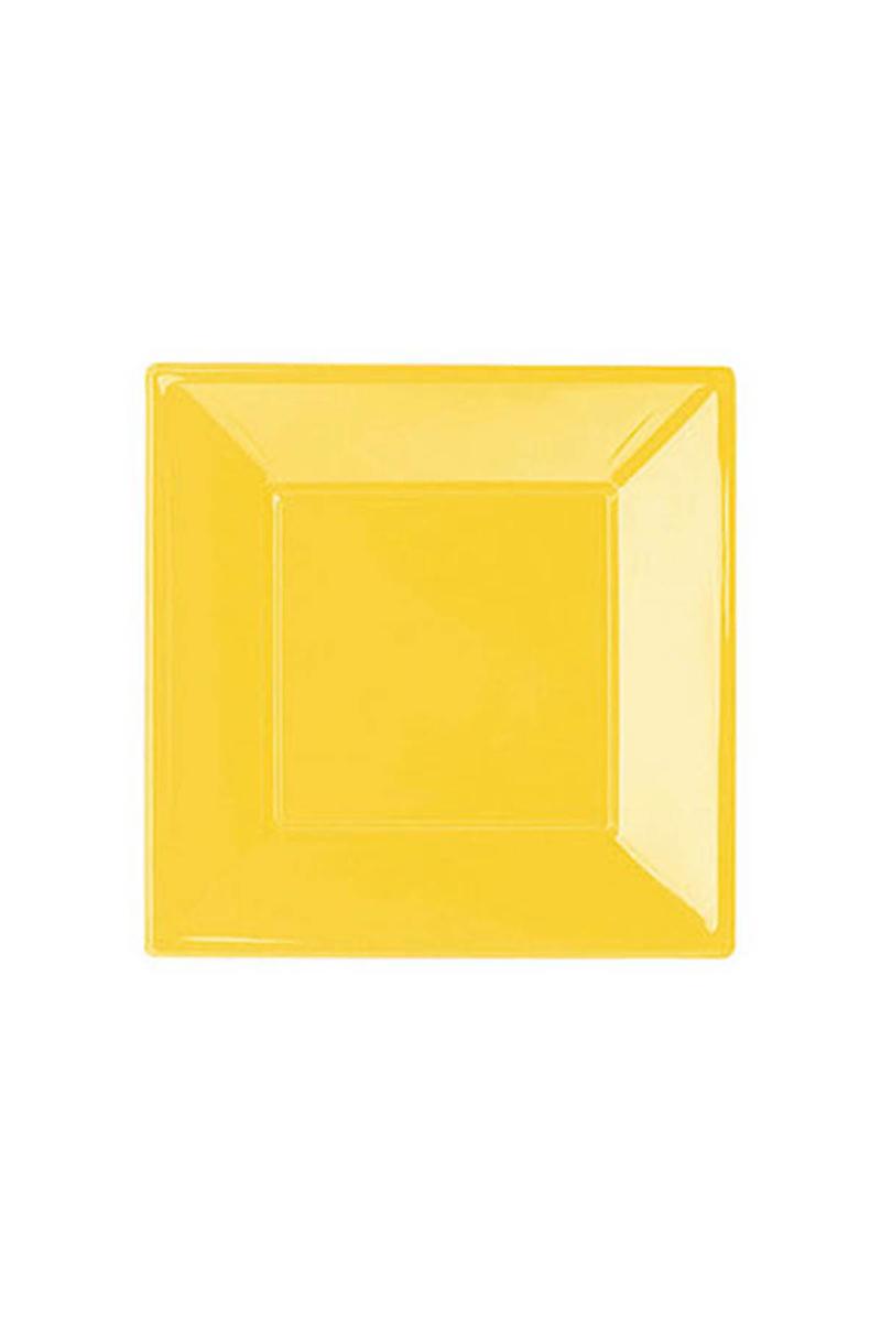 Roll-Up Plastik Kare Tabak Sarı 17cm 8li