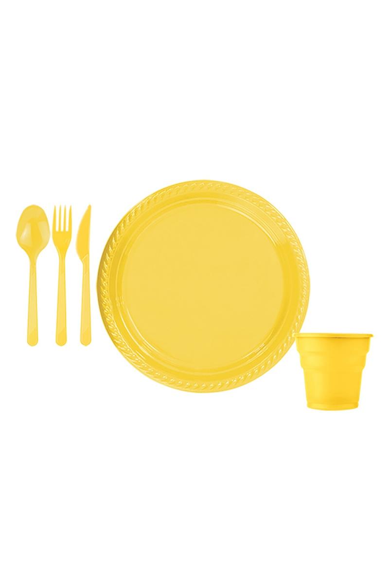 Roll-Up Sarı Plastik Sofra Seti 25 Kişilik 125 Parça - Thumbnail