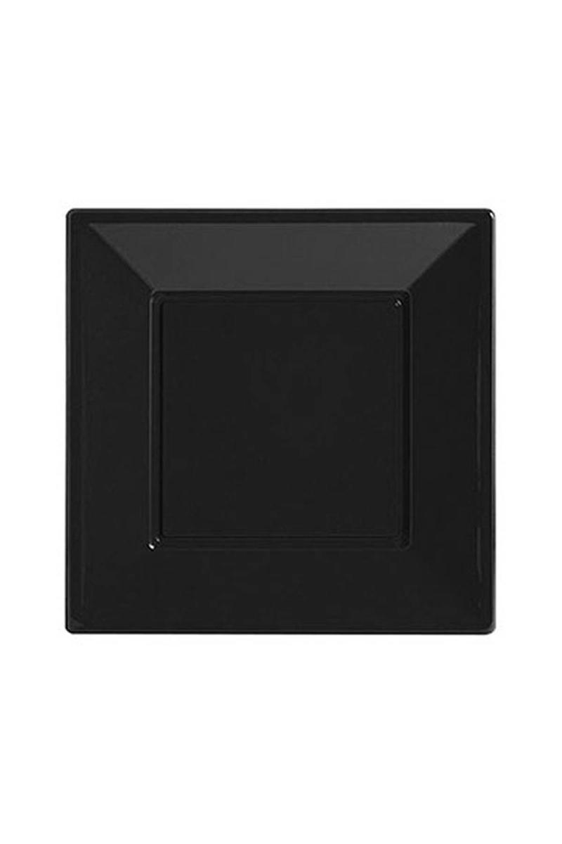 Roll-Up Plastik Kare Tabak Siyah 23cm 8li