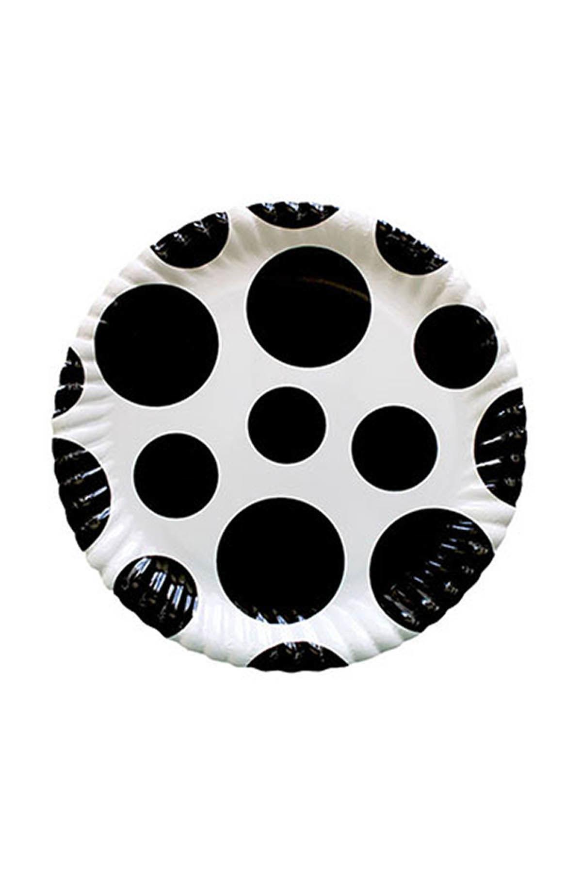Siyah Karışık Puantiyeli Karton Tabak