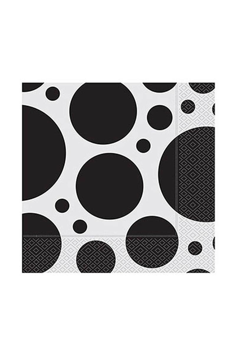 Roll-Up Kağıt Peçete Karışık Puantiyeli Siyah 33 x 33cm 20li
