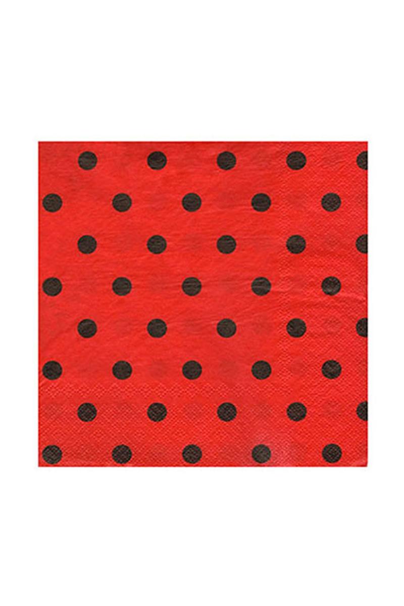 Roll-Up Kağıt Peçete Siyah Puantiyeli Kırmızı 33 x 33cm 20li