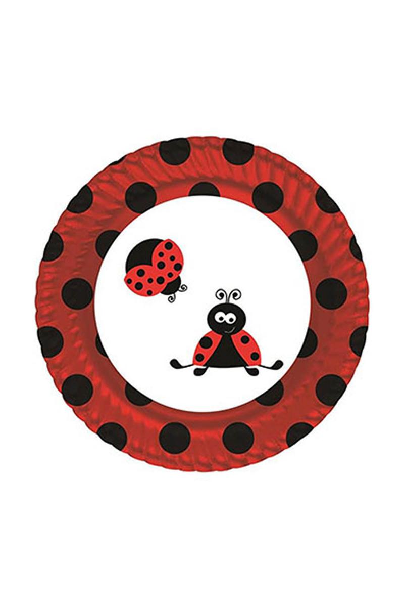 Roll-Up Uğur Böceği Partisi Karton Tabak 23cm 8li