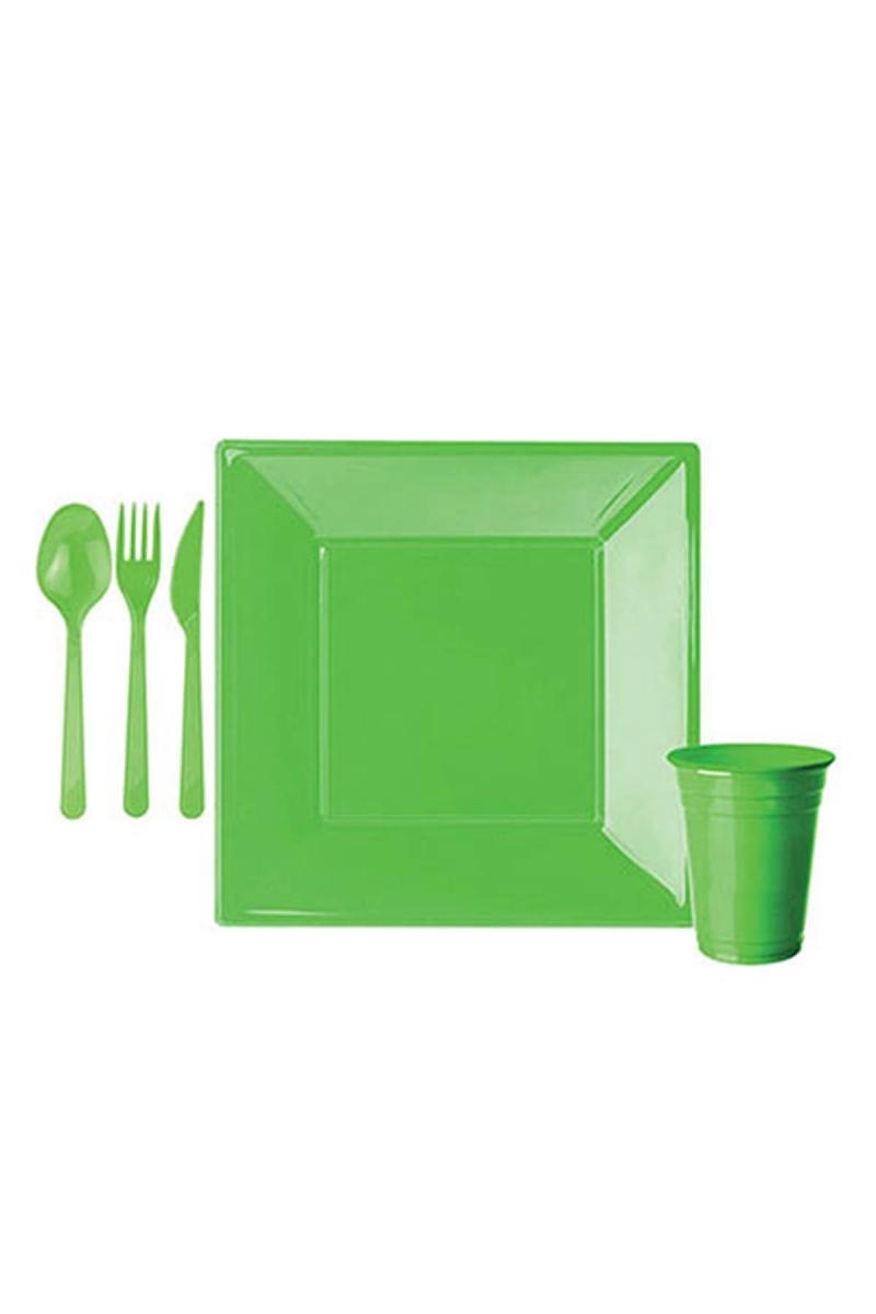 Roll-Up Yeşil Plastik Kare Sofra Seti 8 Kişilik 91 Parça - Thumbnail