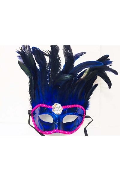 Bol Tüylü Parti Maskesi Mavi Renk 1 Adet