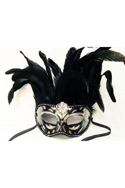 Bol Tüylü Parti Maskesi Siyah Renk 1 Adet
