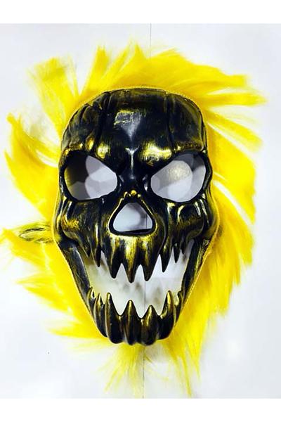 Cadılar Bayramı Kurukafa Maskesi Sarı Saçlı 1 Adet