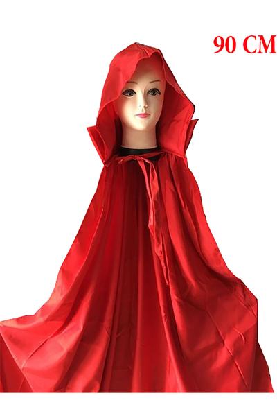 Halloween Vampir Pelerini Yakalı+Kapşonlu 90cm Kırmızı 1 Adet