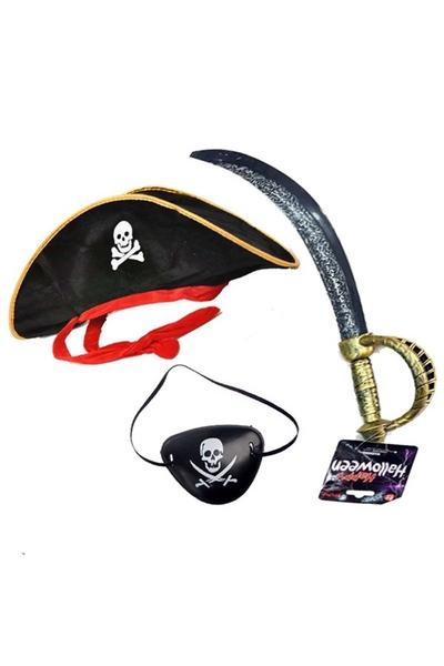 Jack Sparrow Korsan Şapkası Kılıcı Göz Bandı Seti 1 Adet