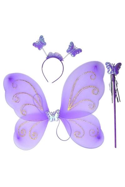 Kelebek Kanadı Tacı Asası Mor Renk 1 Adet