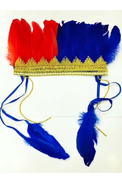 Renkli Kızılderili Başlığı Tüylü Bordo Mavi 1 Adet