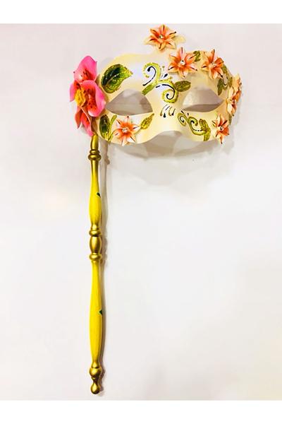 Sopalı Tutmalı Venedik Maskesi Pembe 1 Adet
