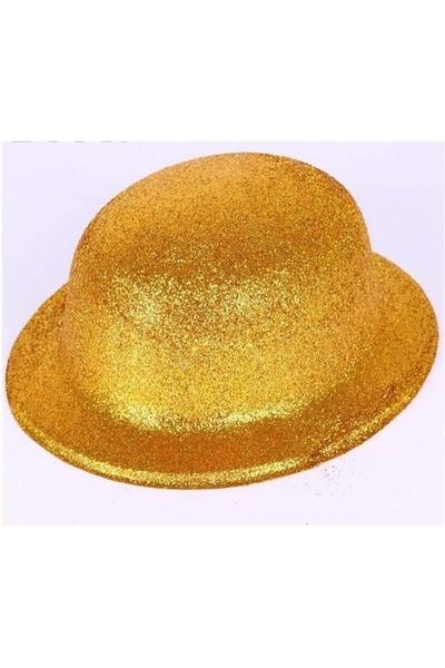 Yılbaşı Simli Parti Şapkası Sarı 1 Adet