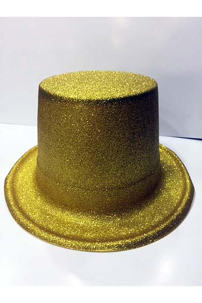 Yılbaşı Simli Parti Şapkası Sarı Renk 1 Adet