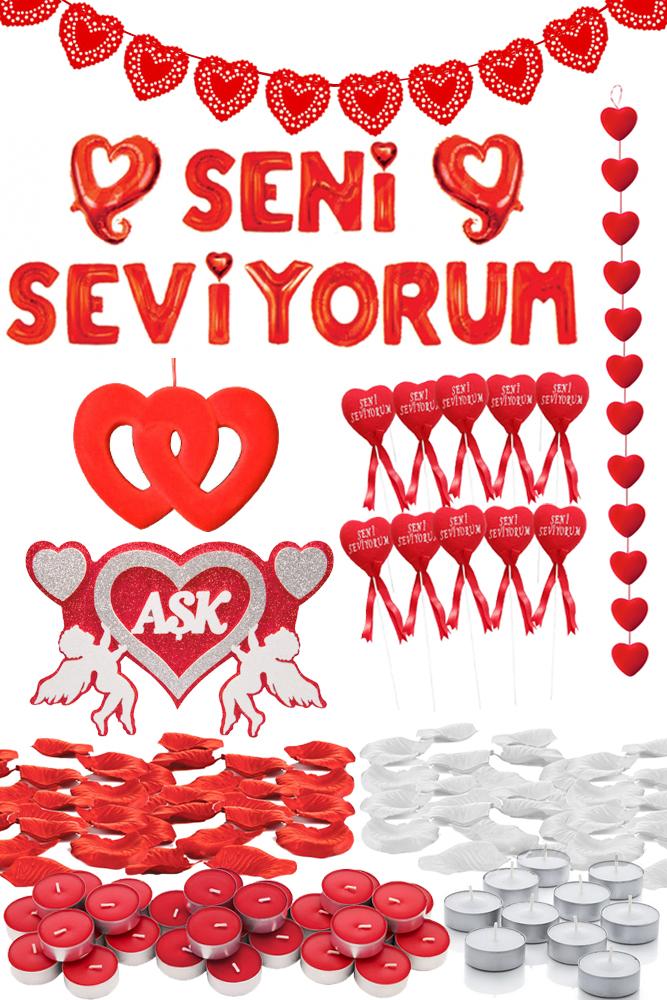 Seni Seviyorum Kalpler Dekorasyon Seti