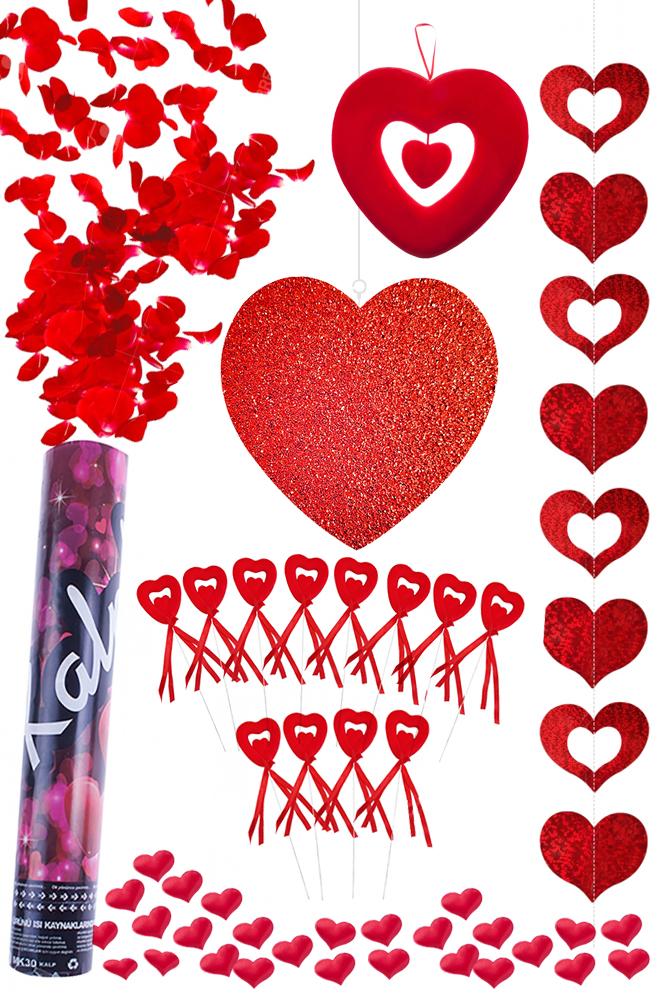 Sevgililer Günü Kalpler Dekorasyon Seti
