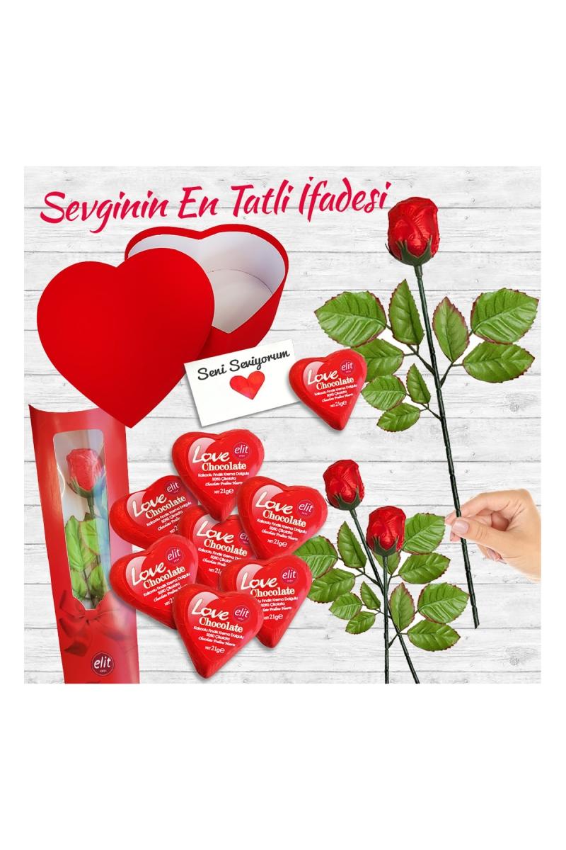 Tatlı Aşk Kalp ve Güllü Çikolata Hediye Seti 6 Parça