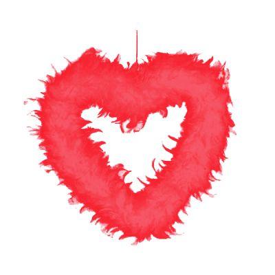Tüy Kalp Kırmızı 44 Cm